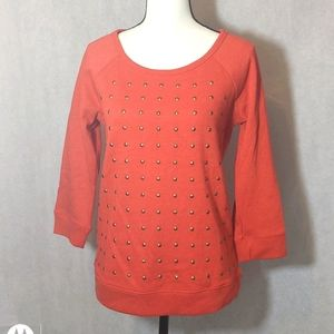 NWT Express 3/4 Sleeve Rosy Cotton Studded Top Sm